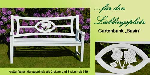 wetterfeste weiße Holz Gartenbank