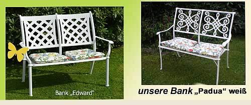 Angebot Gartenmöbel nostalgische Gartenmöbel weiß metall, nostalgische gartenbänke weiß metall, weiße Gartenbänke aus Metall im englischen Landhausstil