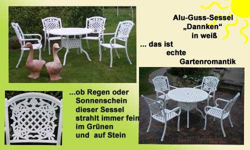 Schöne weiße, romantische Gartenmöbel aus Metal mit einem sehr hohen Sitzkomfortl weiße Gartenbänke Aluminium Gartenmöbel Hannover