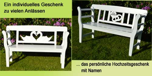 Hochzeitsgeschenk weiße Holz Gartenbank