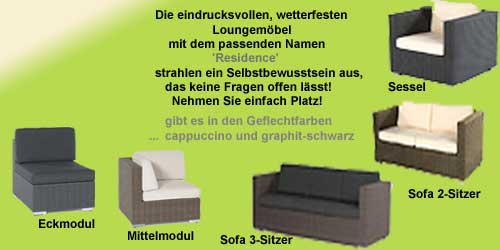 hochwertige Lounge-Gartenmöbel mit Polyrattan - Geflecht Residence, loungemöbel aus wetterbeständigen polyrattan geflecht