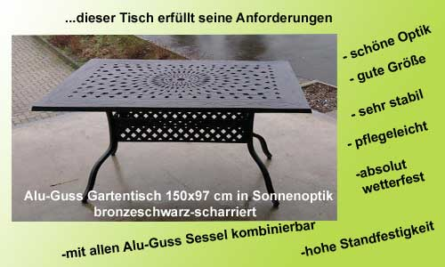 Gartenmöbel Angebot- Aluminium guss Gartentisch